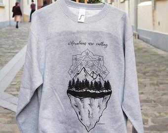 Mountains are calling - Mandala - Gray Sweatshirt