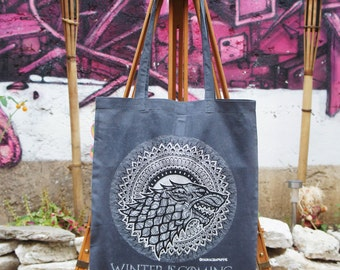 Tote Bag Game of Thrones - Mandala - Stark - Targaryen - Grey