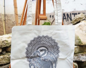 Tote Bag Game of Thrones - Mandala - Targaryen - light grey