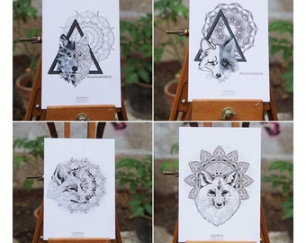 Set of 4 postcards Foxes & Wolf Mandala