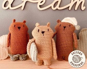 amigurumi crochet pattern - Bearbear Mini Pyjama Gang - by Mister O'Lui - PDF - english and german