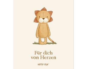 Postkarte Löwe - für dich von Herzen - von Mister O'Lui