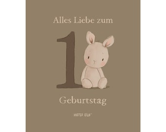 Postkarte Hase - Alles Liebe zum 1. Geburtstag - von Mister O'Lui