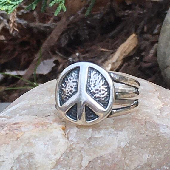 Slave Bracelet and Ring G/&S Peace Sign Black Enamel Size 9