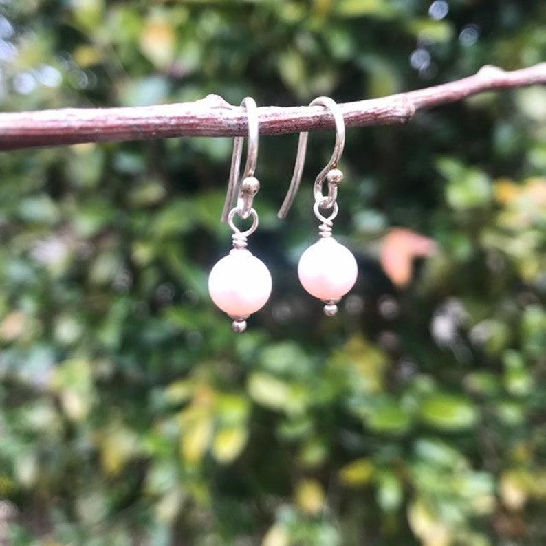 Posey Pink Freshwater Pearl Dangle Earrings by Silpada Designs W1760 Retired Vintage