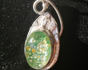 Opal Glass and Precious Metal Clay Pendants