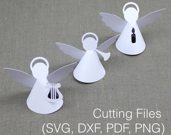 Plotter file for 3 Christmas angels with candle, harp and trumpet [Christmas. Nativity scene. Cutting file. Plotter. Silhouette. DXF. SVG.]