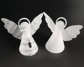 Angel made of transparent paper suitable for LED tea light, 10 cm high, guardian angel, wind light, with dots / music notes / snowflakes
