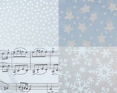 Transparent paper 15 x 15 cm with dots, notes, stars or snowflakes