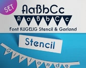 "Set Stencil + Garland Font for Cutting Machines ""KUGELIG Stencil + Garland"" [private licence]"