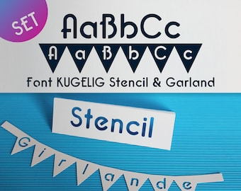 """Set Stencil + Garland Font for Cutting Machines """"KUGELIG Stencil + Garland"""" [private licence]"""
