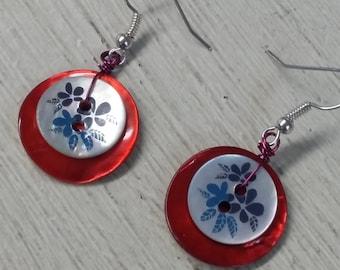 Shell button earrings