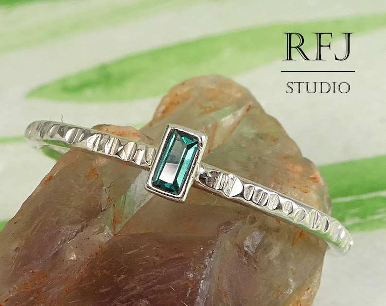 October Birthstone Baguette Cut Synthetic Tourmaline Textured image 0