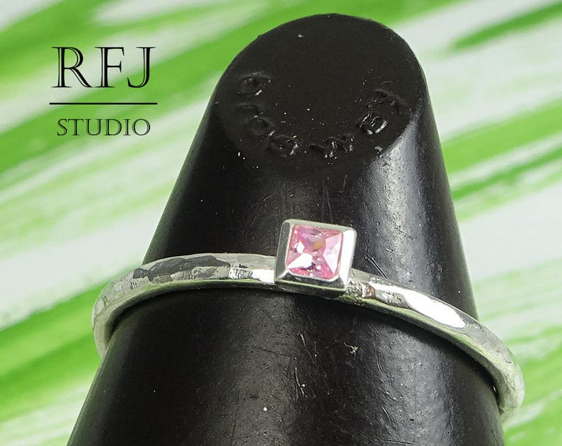 2x2 mm Princess Cut Promise Pink CZ Ring Square Setting Pink Stack Ring Tiny Engagement Ring Square Lab Pink Diamond Hammered Silver Ring