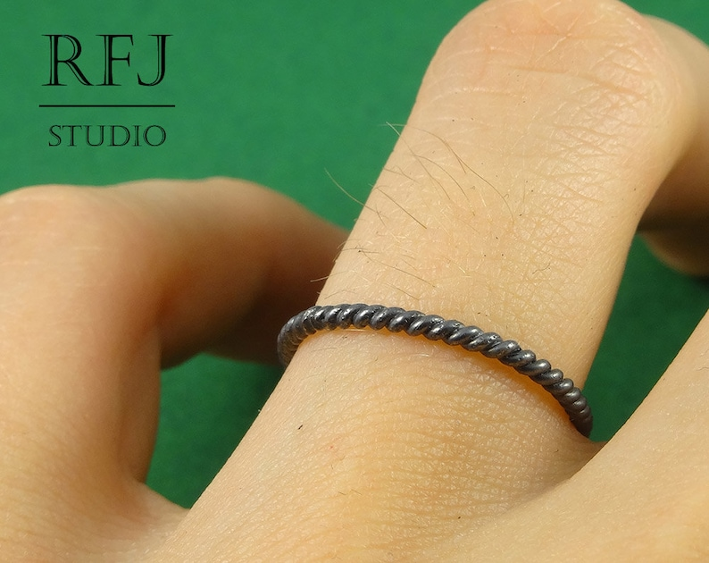 925 Silver Twist Ring Braided Oxidized Ring Stackable Blackened Ring Black Stacking Silver Rope Ring Round Tihgtly Twisted Rope Ring