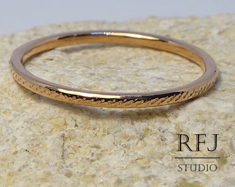 14K Rose Gold Plated Cross Hatched Stacking Ring Thick Gold Plated Tiny Ring Stack Rose Gold Vermeil Ring Minimalistic Stackable Ring