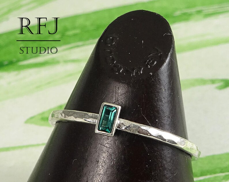 Tiny Baguette Cut Green Tourmaline Hammered Silver Ring image 0