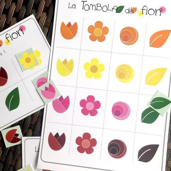 Tombola per bambini da costruire bingo tombola fiori e etsy for Tombola di natale da stampare