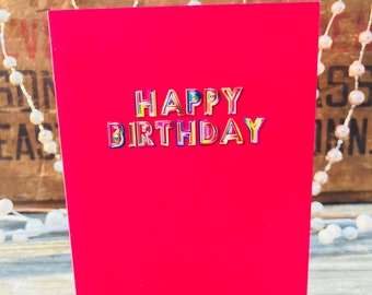 Happy Birthday Bubble Letters Blue Birthday Card Colorful Etsy