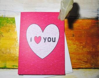 I Love You, Pink Love Heart, Love Greeting Card