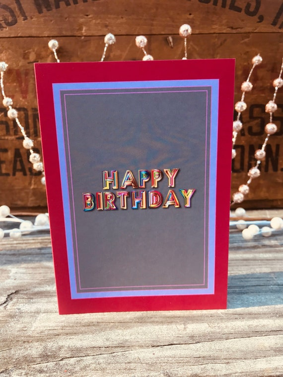 Happy Birthday Bubble Letters Birthday Card Colorful Letters Etsy