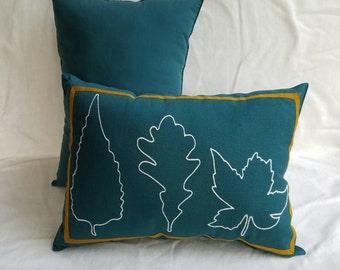 Teal Leaf Outline Pillow
