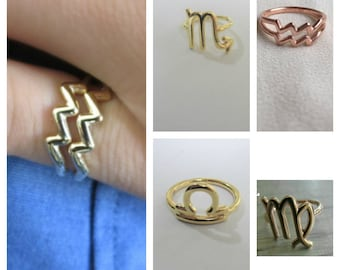 Zodiac Ring- Astrology Sign Ring- Astrology Jewelry- Horoscope Ring- Astrological sign ring- Zodiac Rings