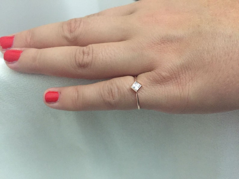 Princess Cut Cz Ring Solitaire Ring Simple Ring Cubic image 0