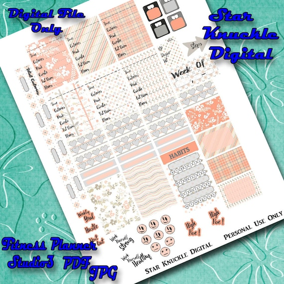 Fitness Planner Stickers Mambi Fitness Sampler Cut File Studio3 Happy  Planner Accessories Printable Fitness Stickers Digital Weekly Layout
