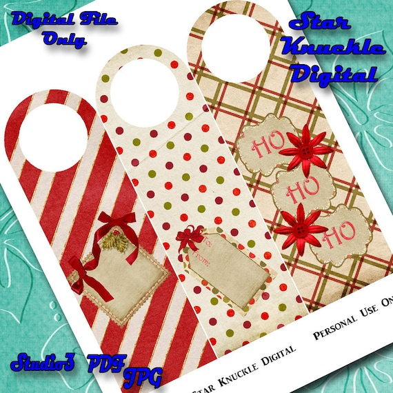 Wine Bottle Tags Printable Christmas Bottle Tag Topper Etsy