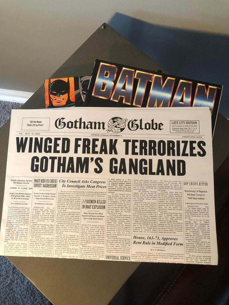 Gotham Globe Newspaper Batman Movie 1989 Merlin Iron-on Transfer