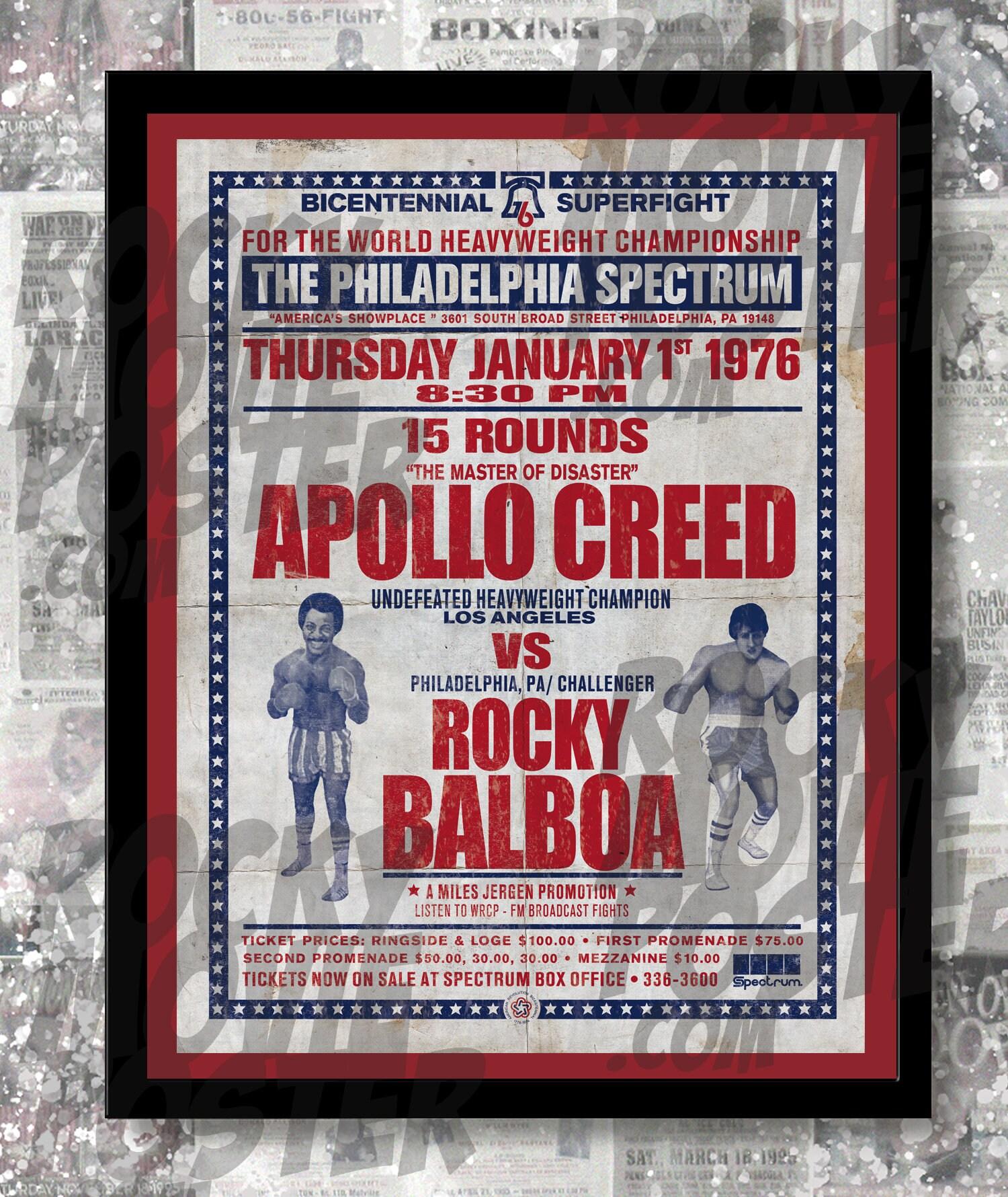 Rocky Balboa vs Apollo Creed Fictional Distressed Boxing ...