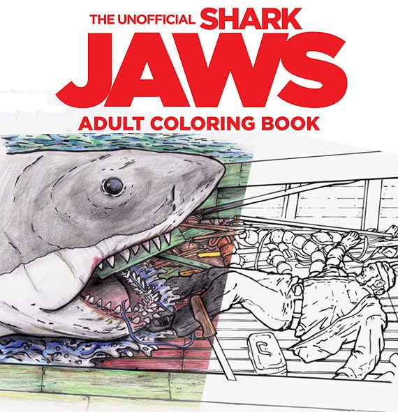 Shark Jaws Adult Coloring Book