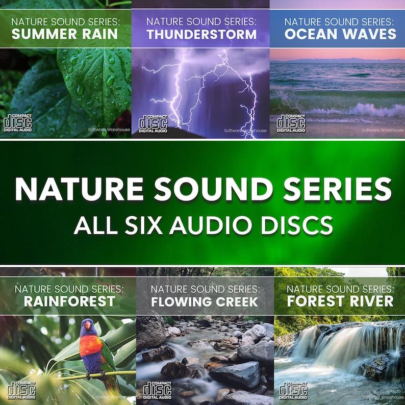 Nature Sound Series - Six Audio CDs - Summer Rain - Thunder - Ocean -  Flowing Creek - Forest River - Rainforest - Meditation Relax Discs