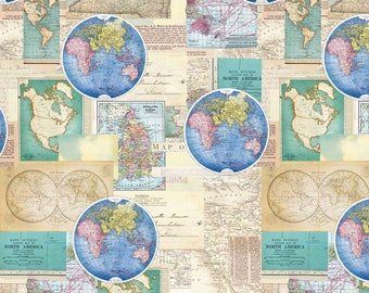 TRAVEL AROUND THE WORLD ~ WORLD MAP ATLAS CONTINENTS fabric by Blank Quilting