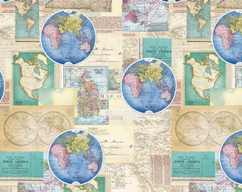 World map fabric etsy map fabric map of the world vintage cartography global map premium by david textiles 100 cotton fabric by the yard da37 gumiabroncs Gallery