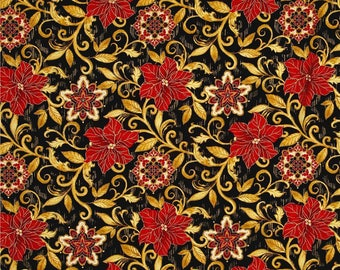 Christmas Poinsettia Gold Cotton Fabric Timeless Treasures CM4982 By The Yard