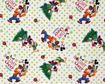 disney christmas mickey friends home for the holidays trim the tree disney holiday cheer 100 cotton fabric by the yard sc1088 - Disney Christmas Fabric
