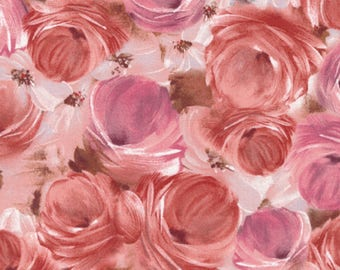 Floral Fabric TULLE PETALS Blush Roses Pink By Fabri Quilt 100 Cotton The Yard 36x43 FQ4