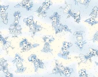 Panel Loralie Flower Floral Bouquet Cotton Fabric Flora Bleu Loralie Harris