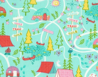100/% Cotton Fabric Timeless Treasures Camping Holiday Map Treasure Hunt