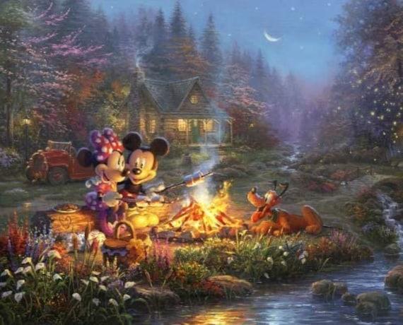 Disney Fabric: David Textiles Disney Dreams Sweetheart Campfire Digital Panel Mickey Minnie Pluto  100% cotton Fabric by the panel (DA191KK)