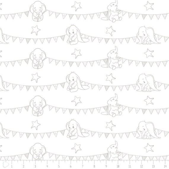 Dumbo Bunting Banners Baby Blue Camelot Cotton Fabric