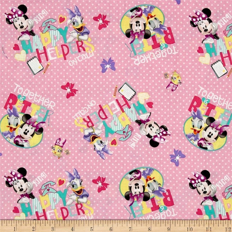 Disney Fabric Minnie Fabric Disney Minnie And Daisy Duck On Etsy