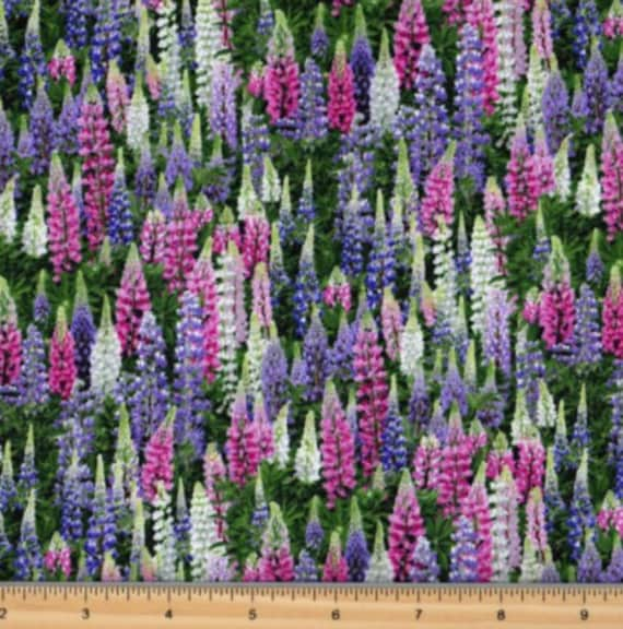 Elizabeth/'s Studio Packed Lavender Landscape Medley Cotton fabric by the yard