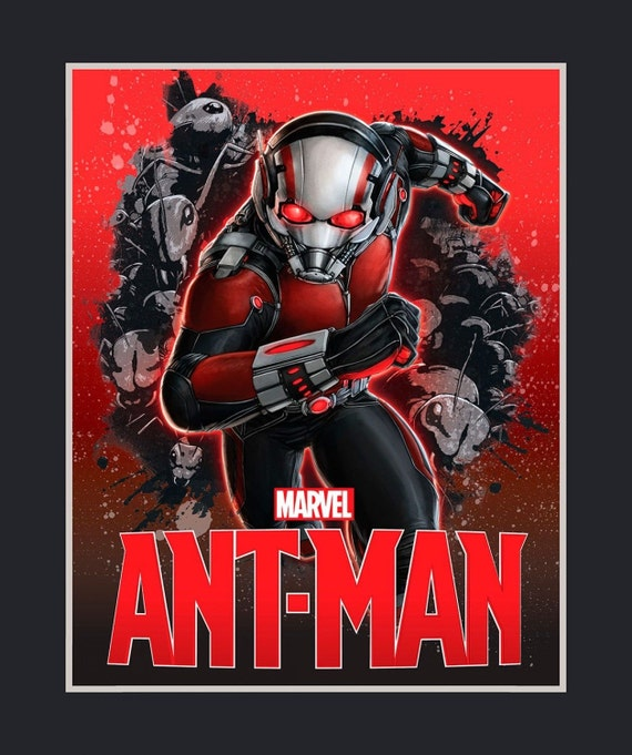 """Marvel Fabric Panel, Comics Fabric: Marvel Ant-Man Antman Quilt Top Panel 100% cotton Fabric by the PANEL 35""""x43"""" (SC269)"""