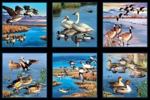 "Hunting Fabric, Animal Fabric: WATERFOWL- Birds, Ducks, Geese, Mallard, wetland hunting 100% cotton fabric by the Panel 24""x43"" (ES21)"