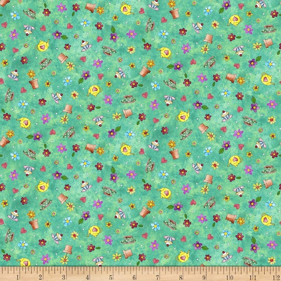Quilting Treasures Fabrics Shop Hop Tossed Motifs Green- Heart Tea Pot, Cupcake, Tea Cup, Flowers 100% cotton Fabric by the yard (QT1054)