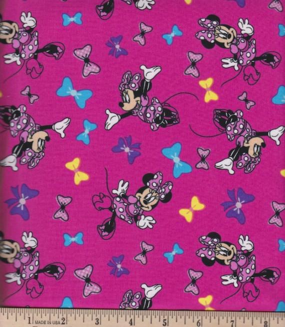 Disney Fabric: Disney Minnie Minnie Mouse & Bow Fuchsia  Jersey Knit Red Fabric- Knit 4 Way Stretch Fabric By The Yard (U72)
