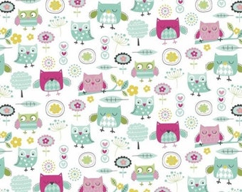 Owl Fabric, Nursery Fabric:  Windham fabric It's a hoot Cute owls and flowers 100% Cotton Fabric by the yard (M412)